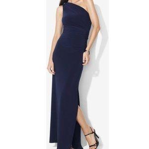 NWT Ralph Lauren Navy One Shoulder Evening Gown 18